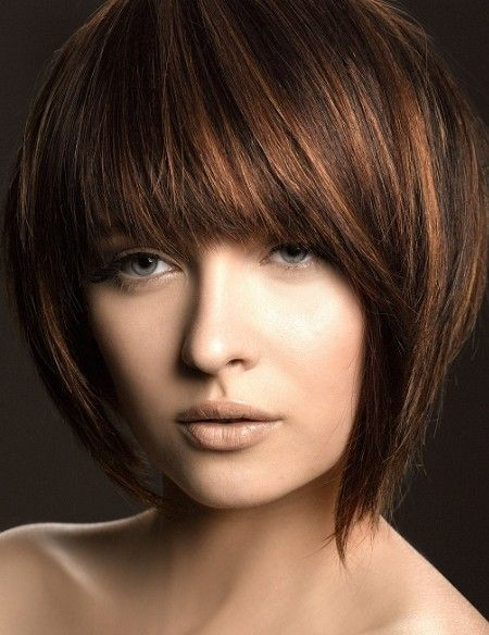 Short length hair highlights with caramel color caramel highlights with bangs pmusecretfo Images