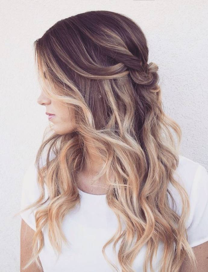 Casual knot on Ombre hairstyle