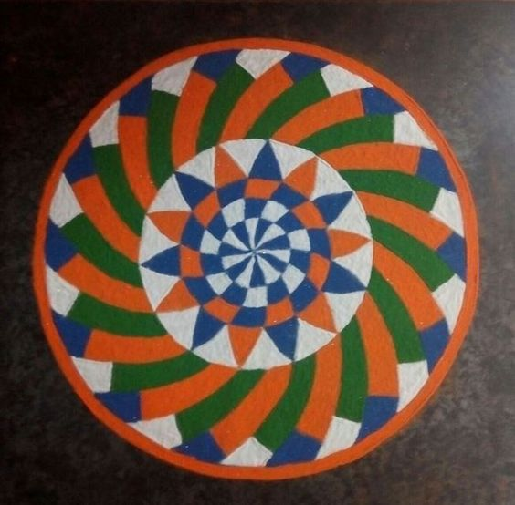 Circular rangoli pattern with shades of Indian flag