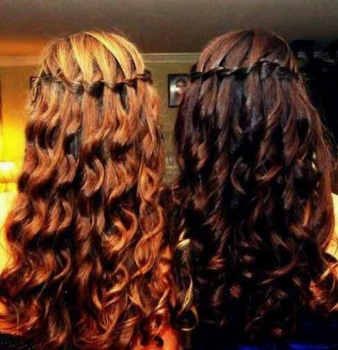 Curly hair waterfall style