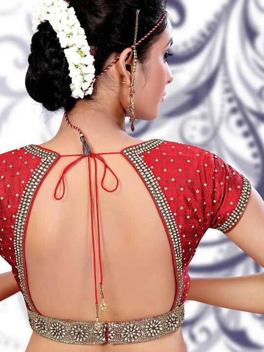 Curved low blouse back design