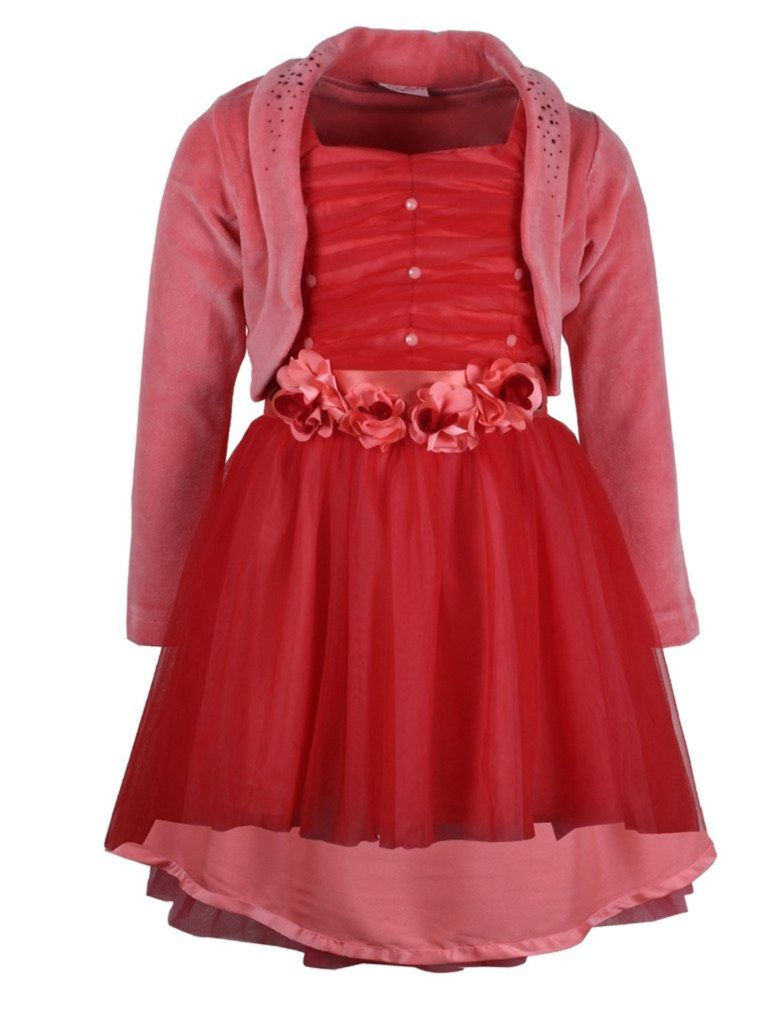 Cutecumber girls net embellished red long sleeve dress