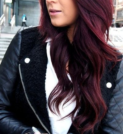 Dark cherry coke hair colour on medium length hair