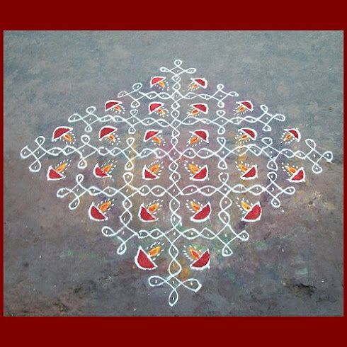 Dotted rhombus with diyas