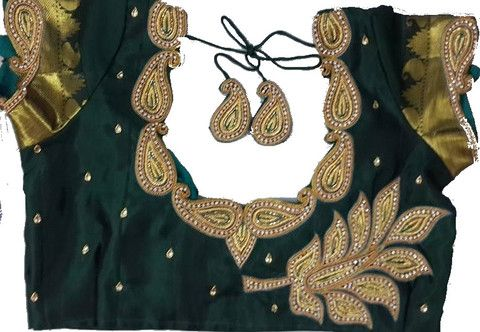 Embellished blouse design with zari work