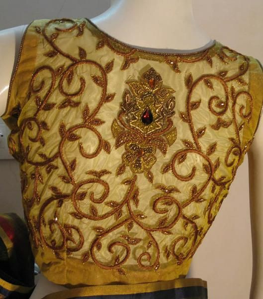 Embellished saree blouse back design on net