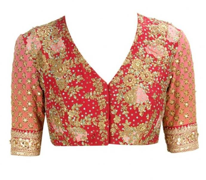 Floral printed Sabyasachi blouse with rich embroidery
