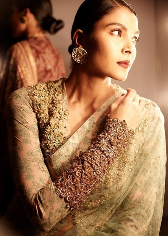 Full sleeve Zardozi blouse by Sabyasachi