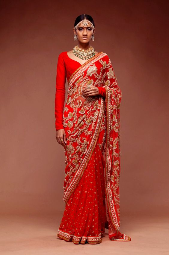 Full sleeve red plain blouse from sabyasachi