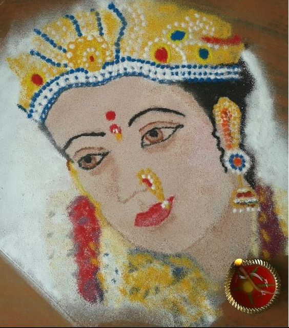 Glitter rangoli for goddess ambe