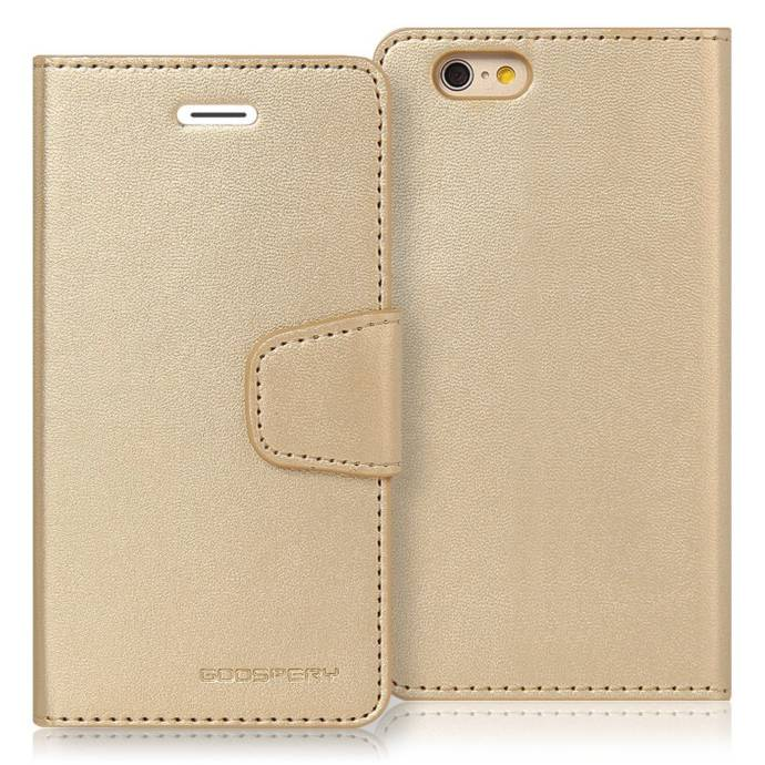 Goospery Sonata Synthetic Leather wallet Case in Gold