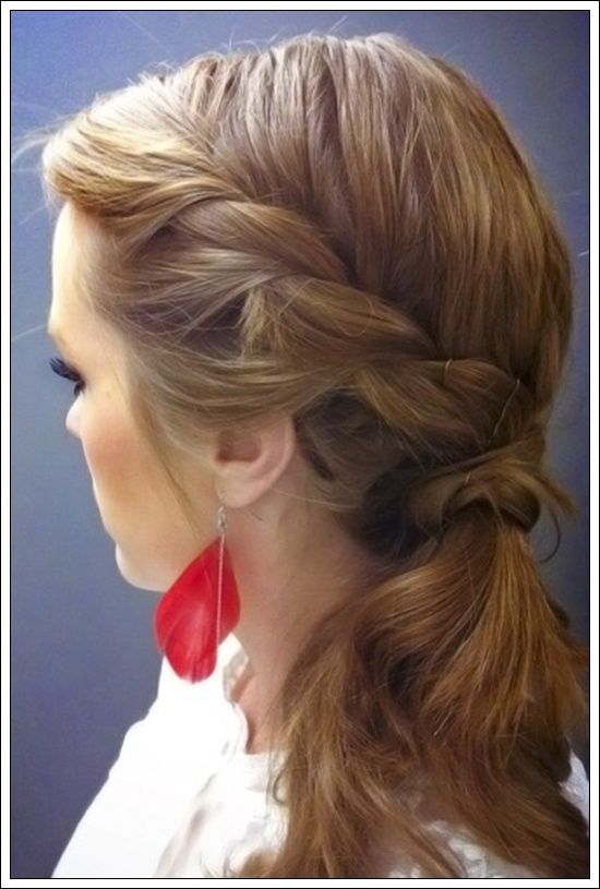 Half side braid with twist pony at the back