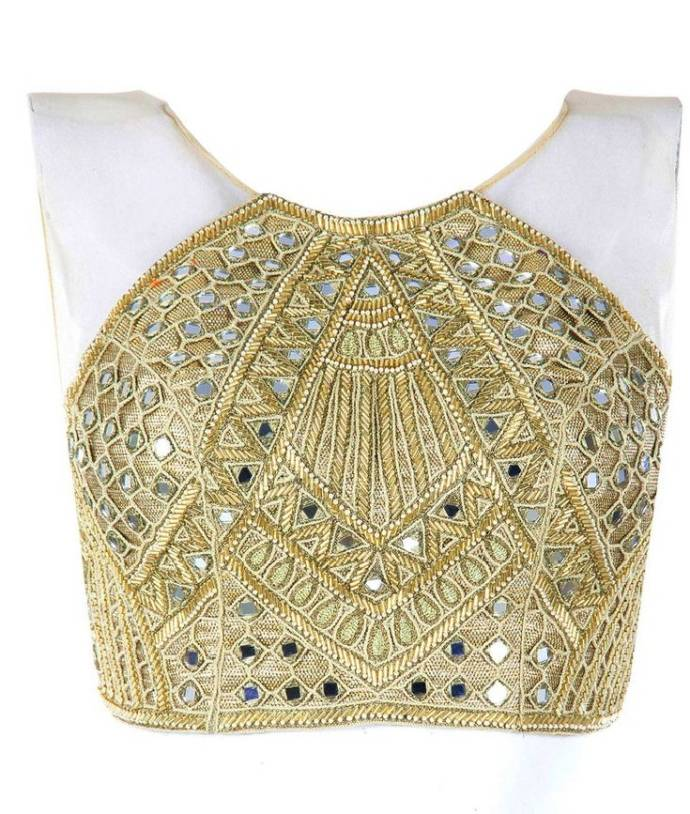 Halter neck blouse design with mirror work