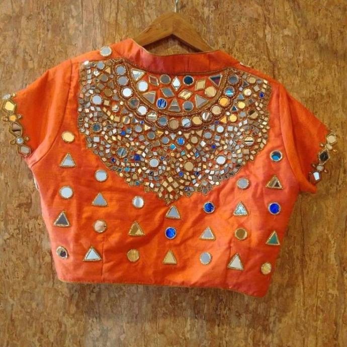 High neck blouse with stone and mirror work