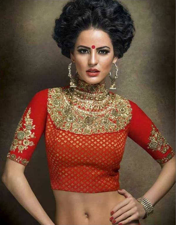 High neck gorgeous bridal blouse with heavy work