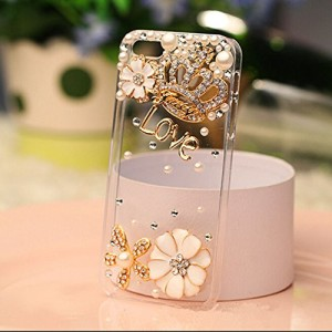 Hundromi 3d Clear Bling Gold Case Cover