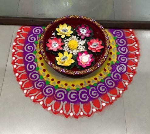 Innovative ideas with colorful rangoli shades