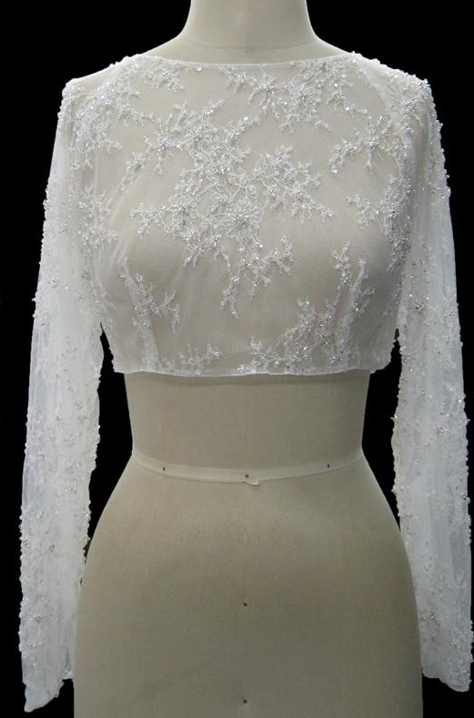 Long Sleeves White Formal Lace Shrug