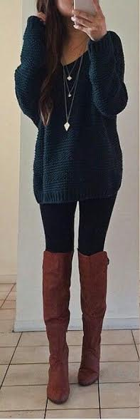 long-sweater-with-high-boots