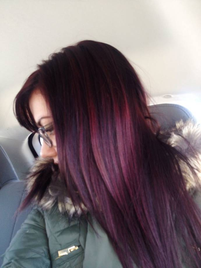 Medium Length Black Hairstyles With Plum Highlights