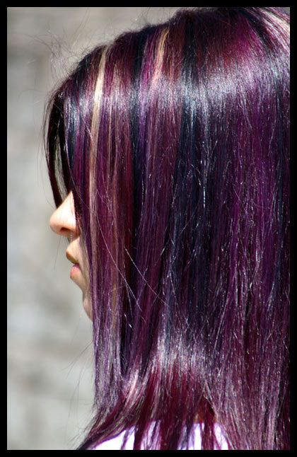 Multi strand plum hairstyle