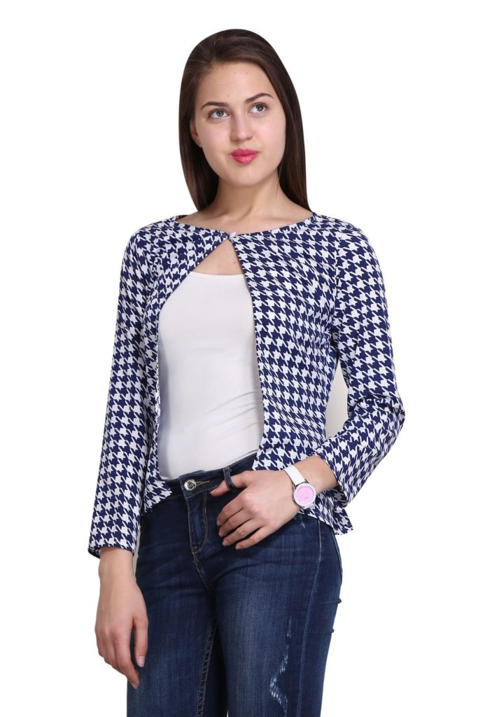 New Sierra women blue Crepe checks potli button fitted shrug