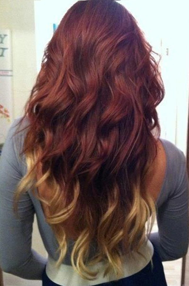 Ombre balayage hairstyle for very long hair