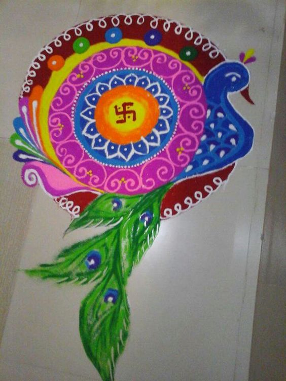 Peacock rangoli idea
