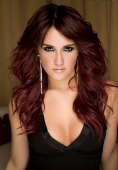 Plum brown medium length hair