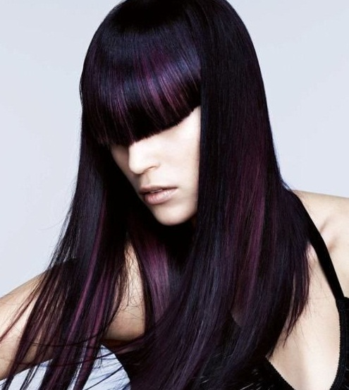 Plum highlights on silky hair