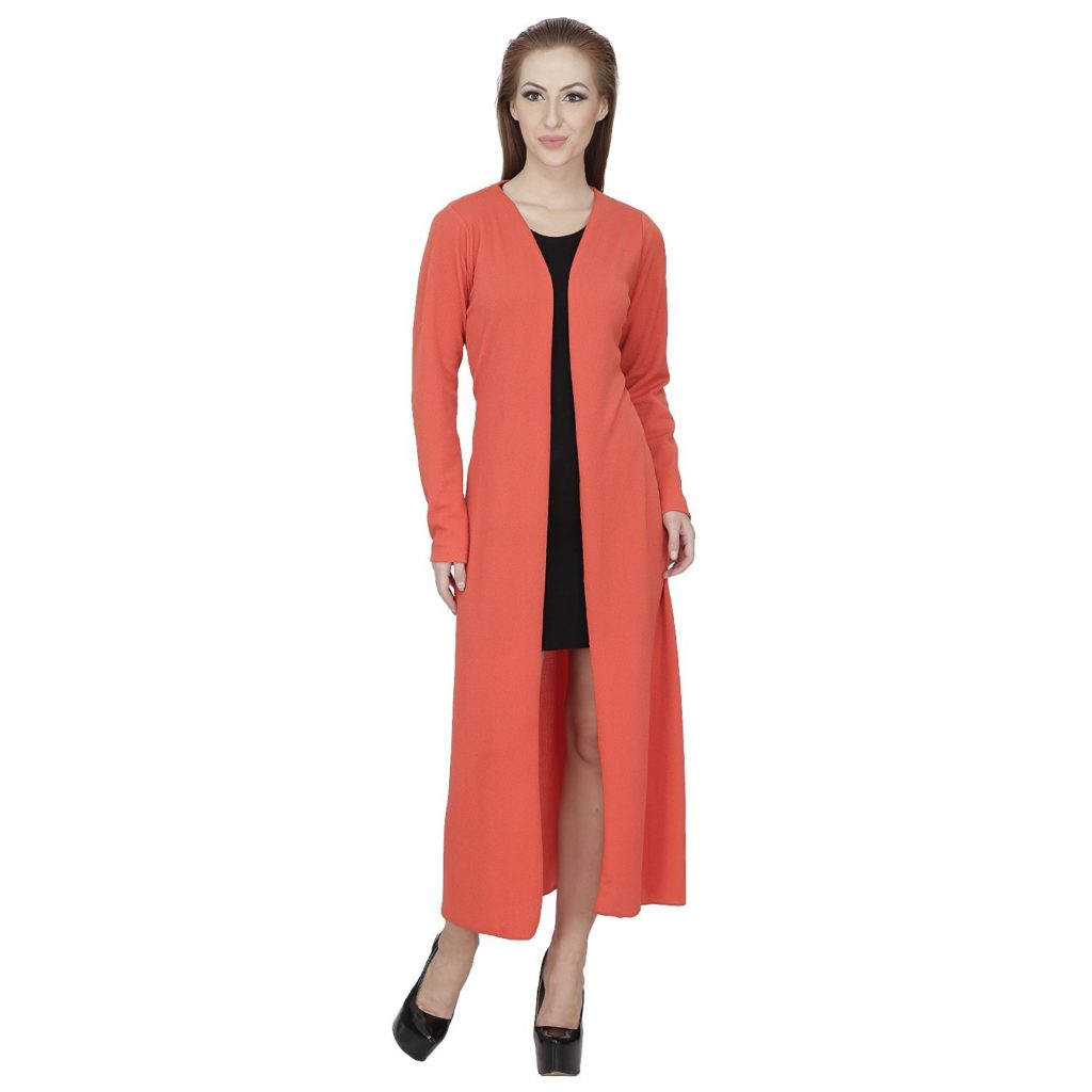 SVT ADA COLLECTIONS POLY VISCOSE ORANGE COLOR (CAPE) LONG SHRUG (031612_Orange_Medium)
