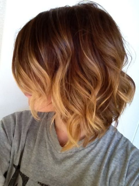 Short wavy hairs with caramel highlights