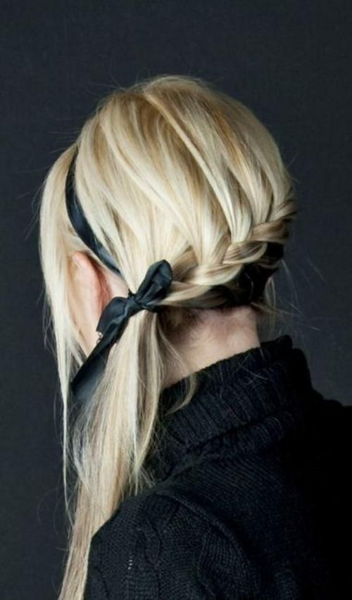 Side-swept back braid and side fringes