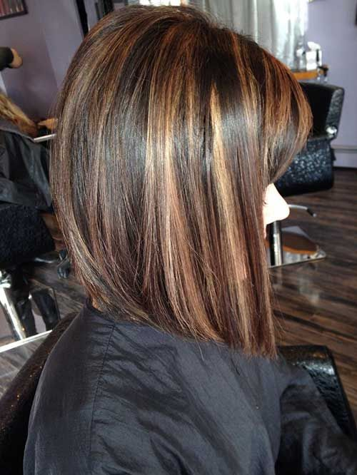 Streaky caramel highlight on dark brown hairs