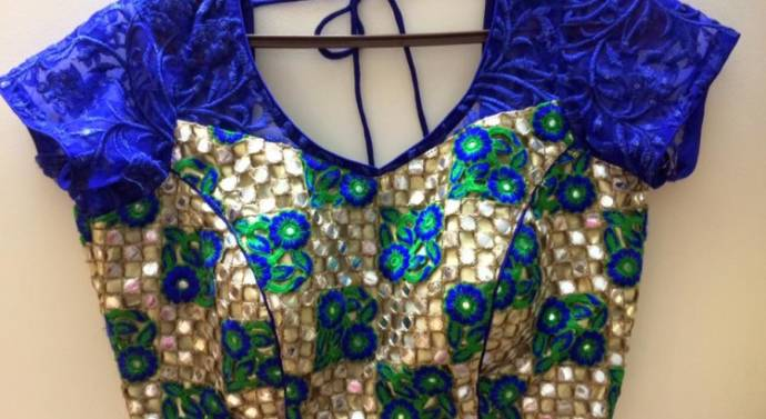 Unique mirror work blouse design