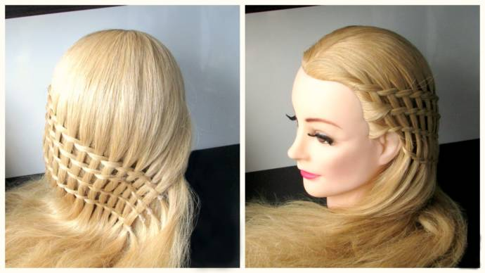 beautiful feather, ladder, loop, braid hairstyles. different