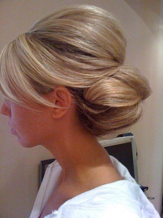 A puffy updo for shoulder length hairs