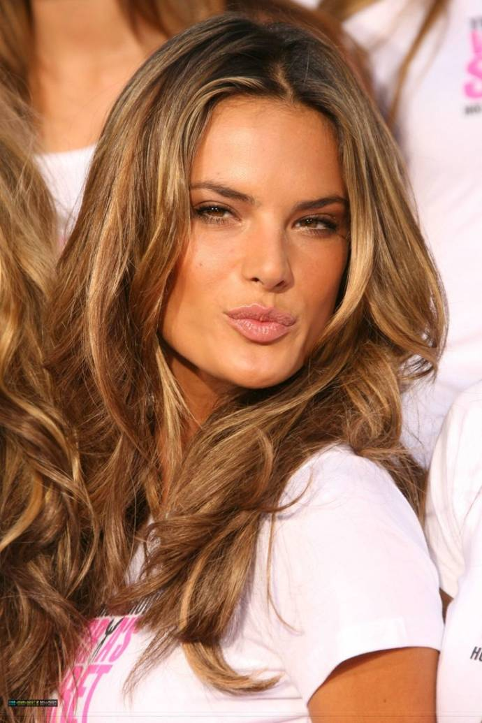 Spring Hair Color For Brunettes - Alessandro ambrosio bright brown hair color with highlights