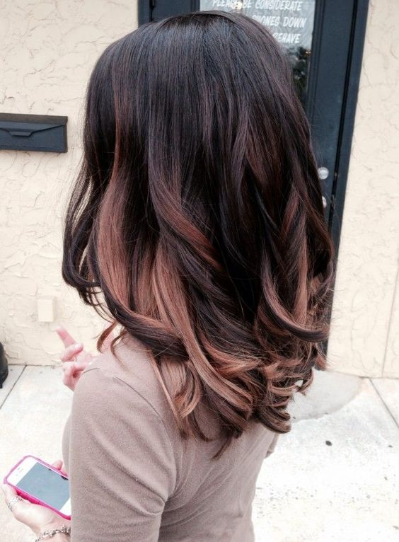 Black with pastel brown ombre