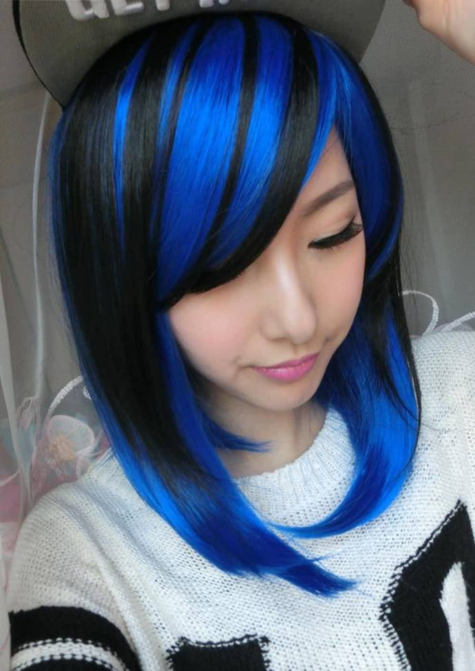 Fashion-Two-Tone-Black-Blue-Hair-Color-Cosplay-Wig-Short-Straight-Fluffy-Hair-Wigs-For-Women