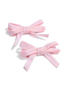 NeedyBee Pink Bow Clip (pack of two) for your little Baby Princess(Kids Hair Accessories)