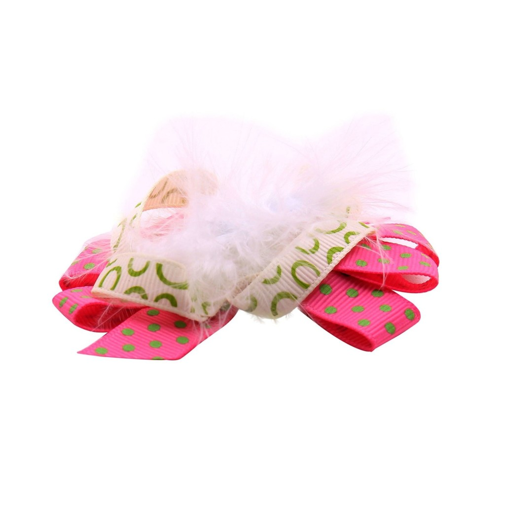 NeedyBee Pink Designer Hair Cliphairpin in Feather Bow for Baby
