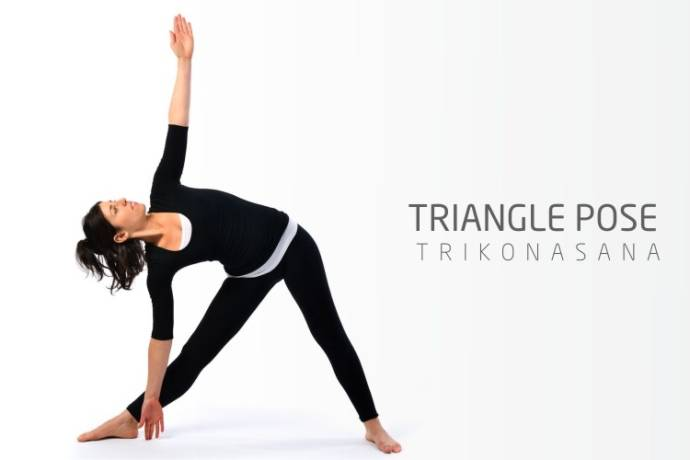 The triangle pose or Trikonasana