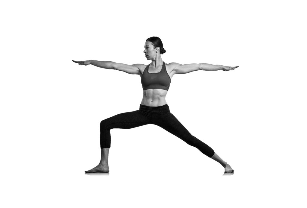 The warrior pose or Virabhadrasana