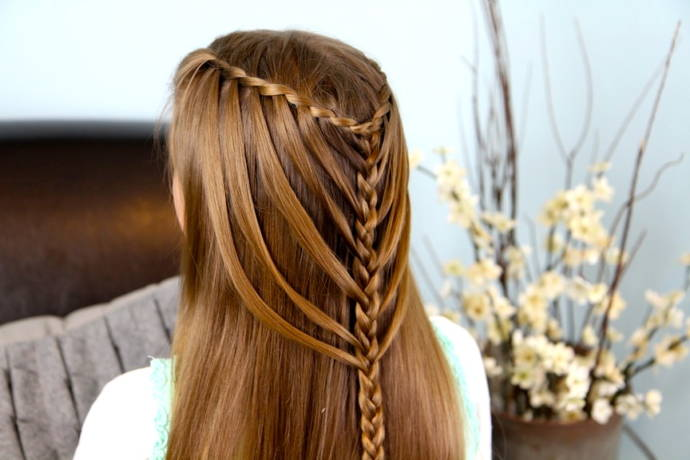 Waterfall braid hairstyle #10