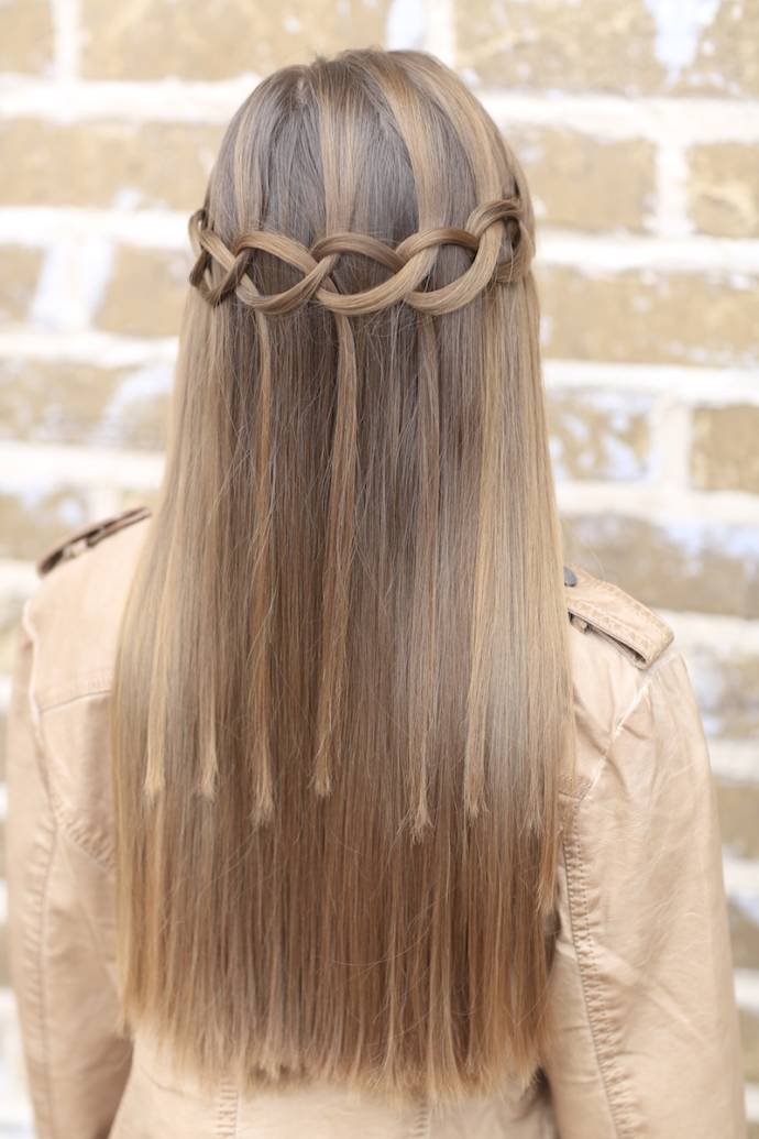 Waterfall braid hairstyle #12