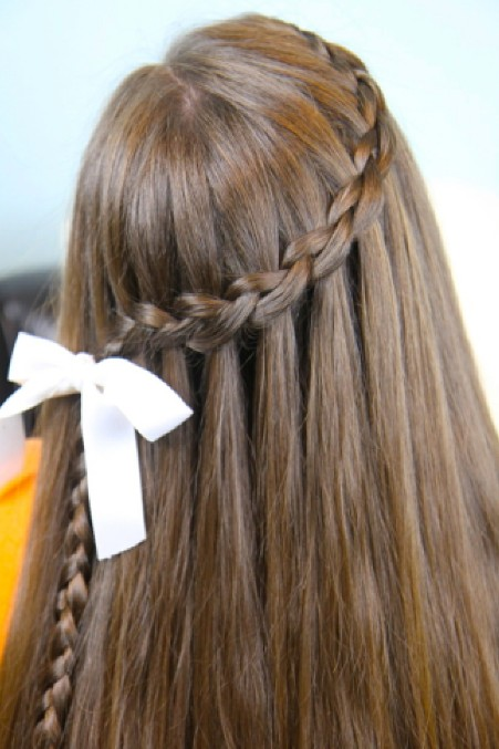 Waterfall braid hairstyle #13
