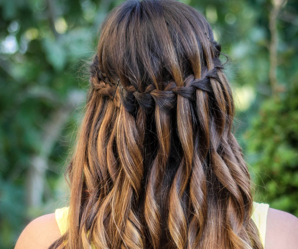 Waterfall braid hairstyle #15