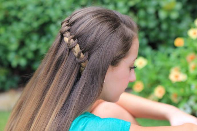 Waterfall braid hairstyle #16