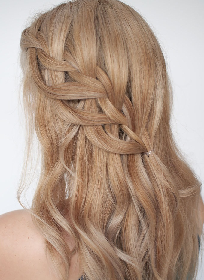 Waterfall braid hairstyle #17
